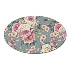 Pink Flower Seamless Design Floral Oval Magnet