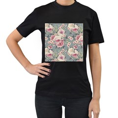Pink Flower Seamless Design Floral Women s T Shirt (black) (two Sided)