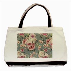 Pink Flower Seamless Design Floral Basic Tote Bag