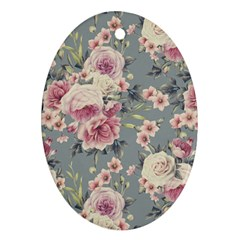 Pink Flower Seamless Design Floral Oval Ornament (two Sides)