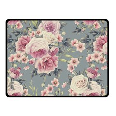 Pink Flower Seamless Design Floral Fleece Blanket (small)