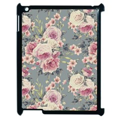 Pink Flower Seamless Design Floral Apple Ipad 2 Case (black) by Nexatart
