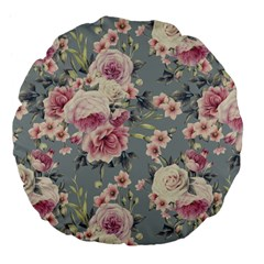 Pink Flower Seamless Design Floral Large 18  Premium Flano Round Cushions
