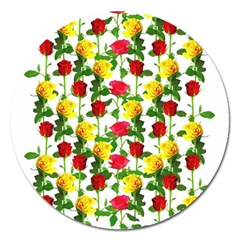 Rose Pattern Roses Background Image Magnet 5  (round)