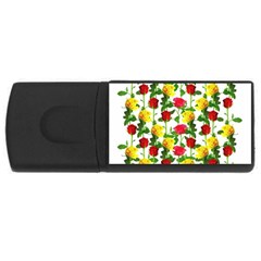 Rose Pattern Roses Background Image Rectangular Usb Flash Drive