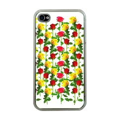 Rose Pattern Roses Background Image Apple Iphone 4 Case (clear)