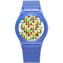 Rose Pattern Roses Background Image Round Plastic Sport Watch (s)