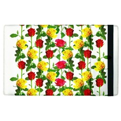 Rose Pattern Roses Background Image Apple Ipad 2 Flip Case by Nexatart