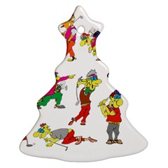 Golfers Athletes Christmas Tree Ornament (two Sides) by Nexatart