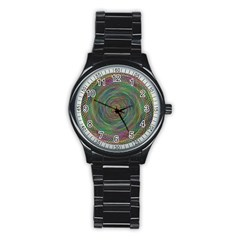 Spiral Spin Background Artwork Stainless Steel Round Watch by Nexatart