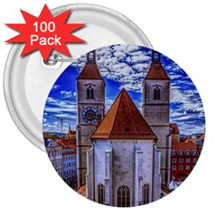 Steeple Church Building Sky Great 3  Buttons (100 Pack)  by Nexatart