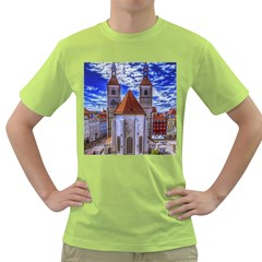 Steeple Church Building Sky Great Green T Shirt