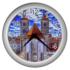 Steeple Church Building Sky Great Wall Clocks (silver)  by Nexatart