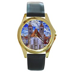 Steeple Church Building Sky Great Round Gold Metal Watch