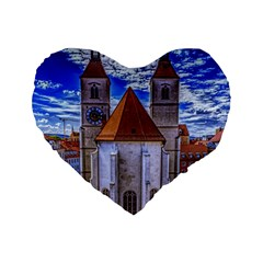 Steeple Church Building Sky Great Standard 16  Premium Flano Heart Shape Cushions by Nexatart