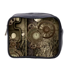 Stemapunk Design With Clocks And Gears Mini Toiletries Bag 2-side by FantasyWorld7