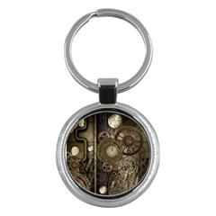 Stemapunk Design With Clocks And Gears Key Chains (round)  by FantasyWorld7