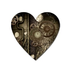 Stemapunk Design With Clocks And Gears Heart Magnet by FantasyWorld7