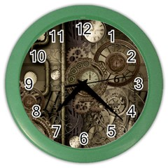 Stemapunk Design With Clocks And Gears Color Wall Clocks by FantasyWorld7