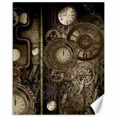 Stemapunk Design With Clocks And Gears Canvas 11  X 14   by FantasyWorld7