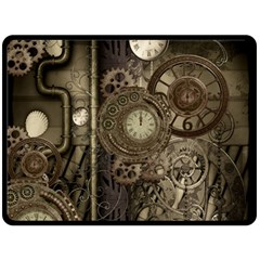 Stemapunk Design With Clocks And Gears Fleece Blanket (large)  by FantasyWorld7