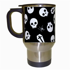 Skull, Spider And Chest    Halloween Pattern Travel Mugs (white) by Valentinaart