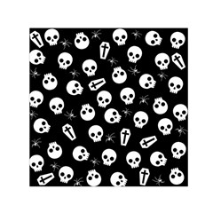 Skull, Spider And Chest    Halloween Pattern Small Satin Scarf (square) by Valentinaart