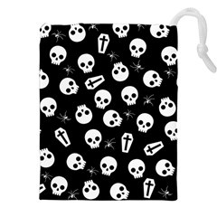 Skull, Spider And Chest    Halloween Pattern Drawstring Pouches (xxl)