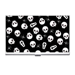 Skull, Spider And Chest    Halloween Pattern Business Card Holders by Valentinaart