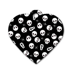 Skull, Spider And Chest    Halloween Pattern Dog Tag Heart (one Side)