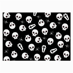 Skull, Spider And Chest    Halloween Pattern Large Glasses Cloth (2 Side) by Valentinaart