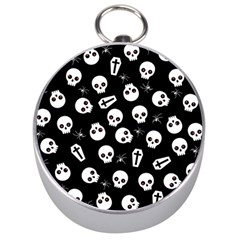 Skull, Spider And Chest    Halloween Pattern Silver Compasses