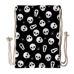 Skull, Spider And Chest    Halloween Pattern Drawstring Bag (large) by Valentinaart