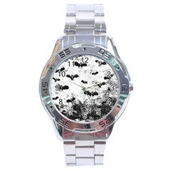 Vintage Halloween Bat Pattern Stainless Steel Analogue Watch by Valentinaart