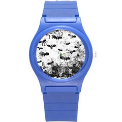 Vintage Halloween Bat Pattern Round Plastic Sport Watch (s) by Valentinaart