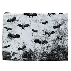 Vintage Halloween Bat Pattern Cosmetic Bag (xxl)  by Valentinaart