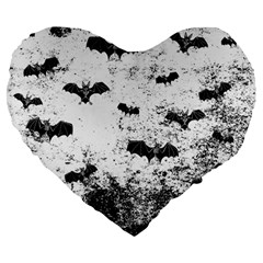 Vintage Halloween Bat Pattern Large 19  Premium Heart Shape Cushions by Valentinaart