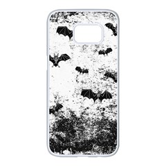 Vintage Halloween Bat Pattern Samsung Galaxy S7 Edge White Seamless Case