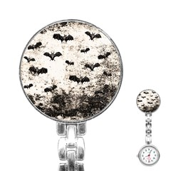 Vintage Halloween Bat Pattern Stainless Steel Nurses Watch by Valentinaart