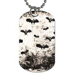 Vintage Halloween Bat Pattern Dog Tag (one Side) by Valentinaart