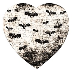 Vintage Halloween Bat Pattern Jigsaw Puzzle (heart) by Valentinaart
