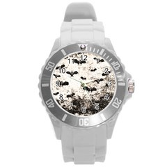 Vintage Halloween Bat Pattern Round Plastic Sport Watch (l) by Valentinaart