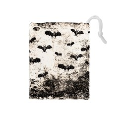 Vintage Halloween Bat Pattern Drawstring Pouches (medium)