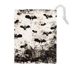Vintage Halloween Bat Pattern Drawstring Pouches (extra Large) by Valentinaart