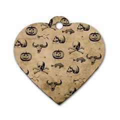 Vintage Halloween Pattern Dog Tag Heart (two Sides) by Valentinaart
