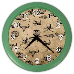 Vintage Halloween Pattern Color Wall Clocks by Valentinaart