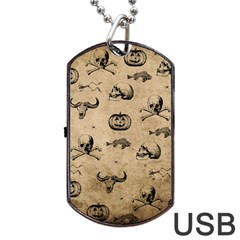 Vintage Halloween Pattern Dog Tag Usb Flash (one Side) by Valentinaart