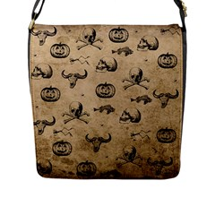 Vintage Halloween Pattern Flap Messenger Bag (l)  by Valentinaart