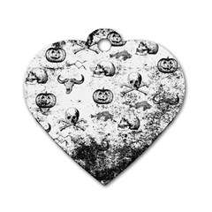 Vintage Halloween Pattern Dog Tag Heart (one Side) by Valentinaart
