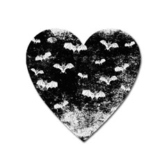 Vintage Halloween Bat Pattern Heart Magnet by Valentinaart
